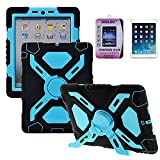 Case for iPad Mini 3, Skoloo Defender Series Cases,Built-in Screen Protector & Stands, 9H Tempered Glass Screen Protectors, Air Cushioned Full Protective Case with Dual Layer - RainPROOF/ SandPROOF/ ShockPROOF/ DirtPROOF/ Multi-layer Protection - SLC01(Bl