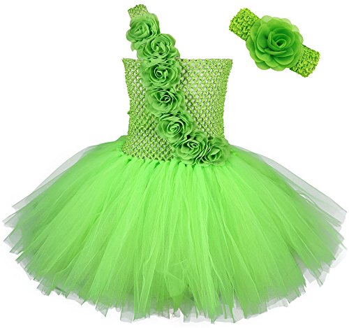 Tutu Dreams Girls Flowers Sash Fairy Princess Dress Up Costumes with Headband St Patricks Day (M, Lime Green) -