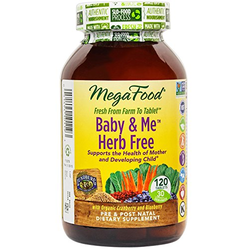 MegaFood – Baby & Me Herb Free, Prenatal & Postnatal Support for Mother & Baby, 120 Tablets
