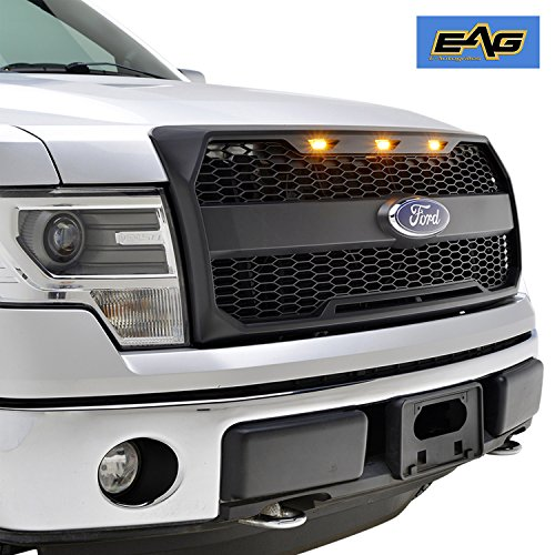 EAG Raptor Conversion Replacement Grille - Matte Black - With Amber LED (09 Grille)