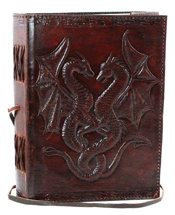 (DOUBLE DRAGON Blank Page BOOK Handcrafted Leather Writing Unlined 5 x 7 JOURNAL)