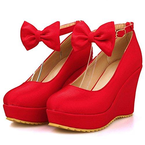 con Rojo mujer cuña tacones Para DecoStain gn1X8q