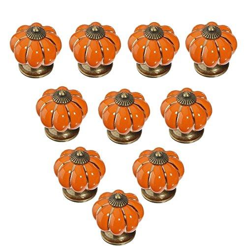 Pumpkin Door - 10pcs Antique Pumpkin Ceramic Door Knobs, Handles Pulls for Cabinets, Cupboard Dresser, Drawers, Kitchen Furniture or Kids Room (Orange)