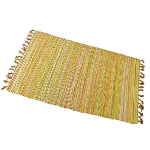 Zeafeel Chindi Rag Rug, Machine Washable Cotton Reversible Rag Rug Hand Woven Multi Color Striped Area Rug Floor Rugs for Bedroom, Living Room, Kitchen and Laundry Room  (24'' x - Reversible Woven Throw