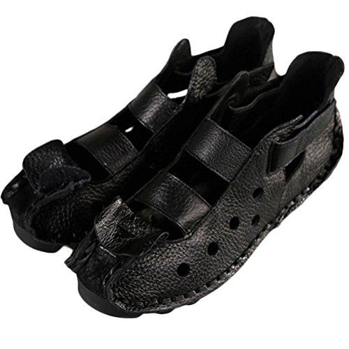 Plates Noir Chaussures Vintage Style1 MatchLife Cuir Femme Sandales HI0qPxvn