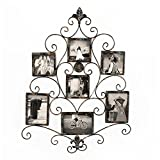 Adeco 7-Opening Metal Photo Picture Collage Frame, Antique Vintage Style, Classy Home Decor Accents