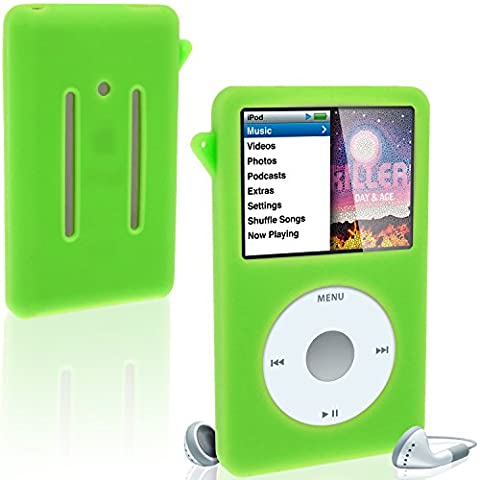 iGadgitz Green Silicone Skin Case Cover for Apple iPod Classic 80GB, 120GB & Latest 6th Generation 160gb launched Sept 09 + Screen Protector & (Durable Case For Ipod Classic)