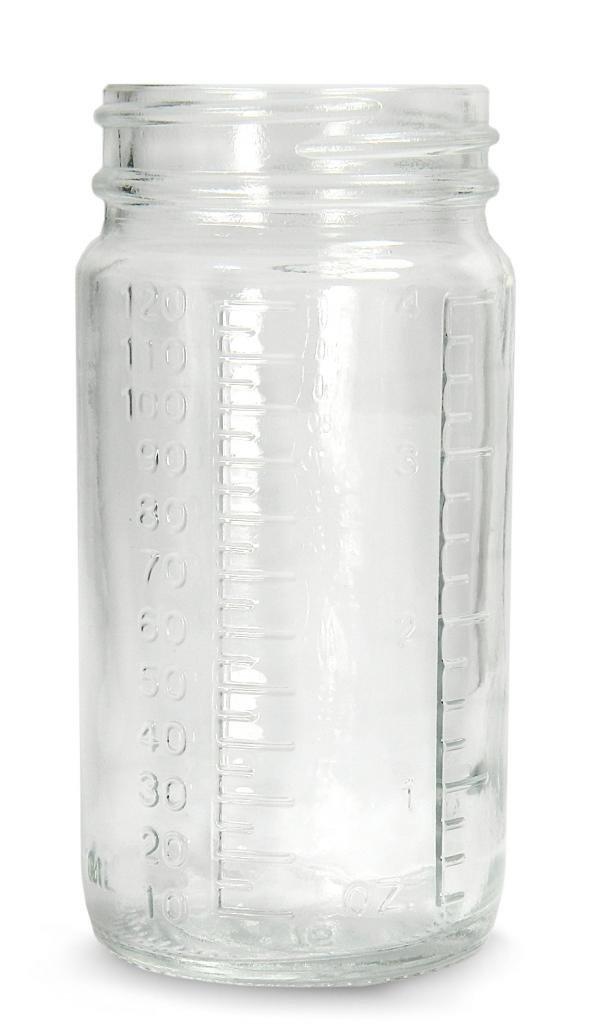 Qorpak GLA-00848 Clear Glass Graduated Medium Round Bottle Beaker with 70-400 Neck Finish, 76mm Diameter x 145mm Height, 16oz Capacity (Case of 48)