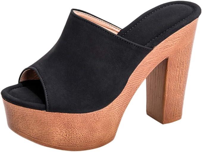 Womens High Wedge Platform Muffins Mules Slippers Summer Sandals Slip Shoes G959