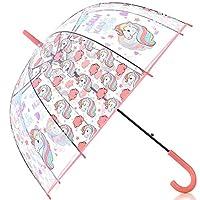 HAOCOO Unicorn Clear Umbrella, Bubble Dome Auto Open Umbrella Windproof for Outdoor Weddings