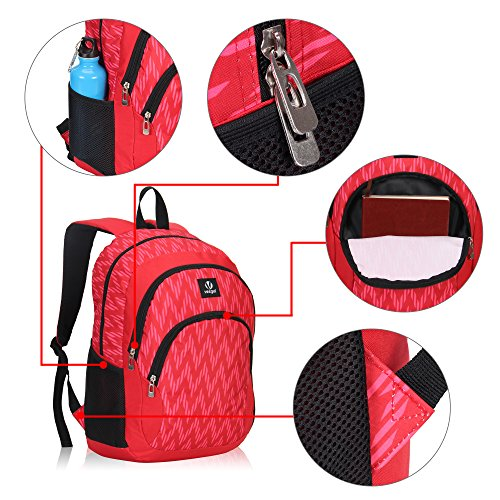 Veegul Cool Backpack Kids Sturdy Schoolbags Back to School Backpack for Boys Girls,Red by Veegul (Image #3)