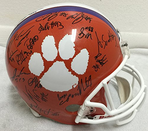 2016 Clemson Tigers National Champions Team Signed / Autographed Full Size Football (Autographed Authentic Football Helmet)