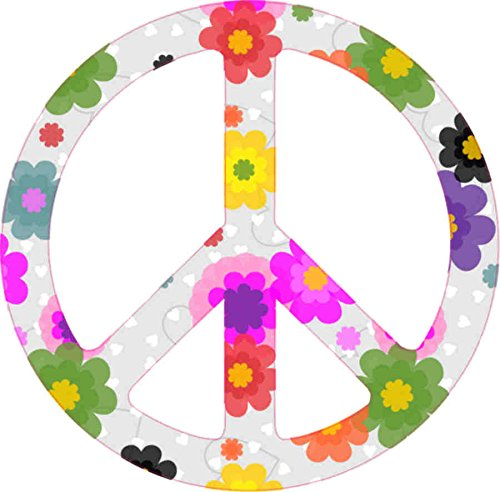 3in x 3in Floral Peace Sign Sticker Car Door Vinyl Decal Bumper Stickers