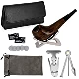 Joyoldelf Small Smoking Pipe Set, Wooden Pipe with Leather Pipe Pouch, Stainless Steel Stand Holder, 3-in-1 Pipe Scraper & Reamer, Pipe Screen, Flannelette Bag