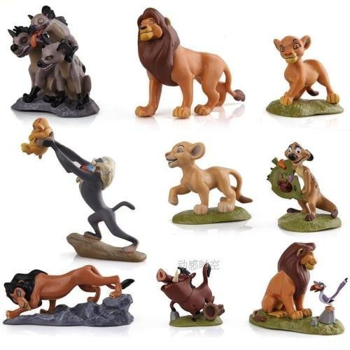 The Lion King Figures, MONSHAPE™ 9 pcs Disney Action Figures Simba Nala Rafiki Pumba Zazu Timon Mufasa PVC Action Figures Collection Movie Classic Toys Best Gift