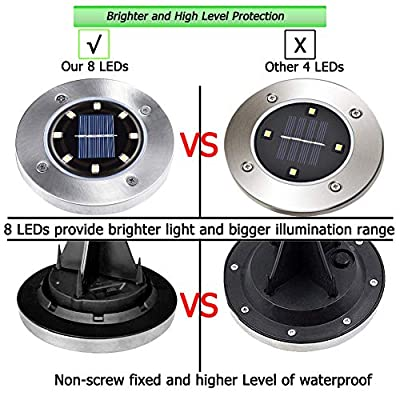 Biling Solar Ground Lights,Solar Disk Lights 8 LED Bulbs Outdoor Waterproof Solar Garden Lights for Pathway Outdoor in-Ground Lawn Yard Deck Patio Walkway - Warm White (4 Pack)