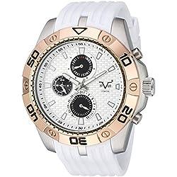V19.69 Italia Men's Quartz Metal and Silicone Casual Watch, Color:White (Model: 37VM101101A)