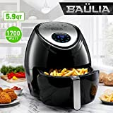 Baulia AF811 Fryer 5.9qt – Easy to Use Digital Air Machine Healthy, Nutritious Food with No Oil – LCD Screen Control – Insulated Handle – Removable Cooking Basket, Black