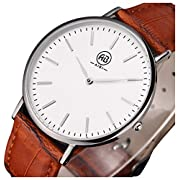 Amazon Lightning Deal 76% claimed: AIBI Mens Ultra-thin Waterproof Brown Leather Quartz Watch, Thickness:4MM