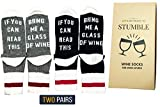 "Premium Quality Wine Socks - Give the perfect gift with the perfect box. ""If you can read this, bring me a glass of wine"". Two pairs of cozy cotton funny socks made for men and women wine lovers."