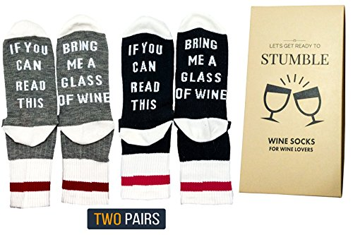"""Premium Quality Wine Socks - Give the perfect gift with the perfect box. """"If you can read this, bring me a glass of wine"""". Two pairs of cozy cotton funny socks made for men and women wine lovers."""