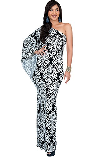 KOH KOH Womens Long One Off The Shoulder Summer Flowy Cocktail Party Evening Damask Print Printed Elegant Evening Sexy Sundress Gown Gowns Maxi Dress Dresses, Black and White M 8-10