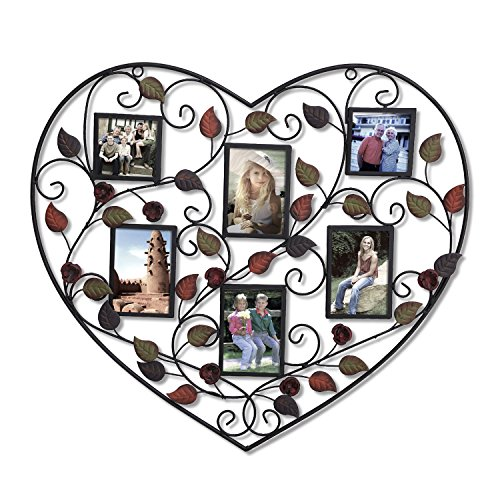 Adeco 6-Opening Decorative Bronze Iorn Metal Heart Shape Wall Hanging Collage Picture Photo Frame, 3.5x5