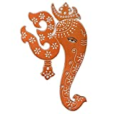 Indian Wall Hanging Om Ganesh Painting - Copper Colour with Geometric Motifs