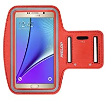 """MELOP Armband (5.7"""") for Samsung Galaxy Note 5 Note 4 Note 3 Note II Note Edge, J3 J3V J7, LG K7 K10 G5 SE, Soft Sweat Resistant Sports Gym Arm Band with Key Holder and Card / Cash Pocket - Red"""