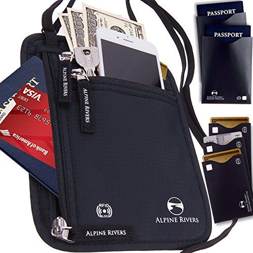 Neck Wallet Travel Pouch & Passport Holder RFID Blocking with 5 Bonus Sleeves