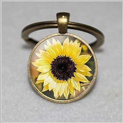 Sunflower Llavero - Flor llavero, joyería floral, girasol ...