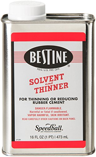 Bestine Solvent and Thinner for Rubber Cement - Cleans Ink, Adhesive and Parts, 16 Ounce - Best Rubber Cement Test