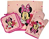 Disney Minnie Mouse Pink Floral 4-pc Kitchen Set: Towel, Oven Mitt & 2 Pot Holders