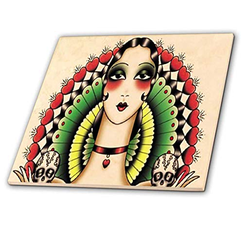 (3dRose ct_62386_4 Mexican Art Deco Lady with Skulls-Ceramic Tile, 12-Inch )