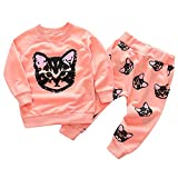 Jchen(TM) Little Girl Sport Sweatshirt Sets Fashion Baby Kids Girl Cute Cat Tops Long Pants Outfits for 1-5 Y (Age: 12-18 Months, Pink)