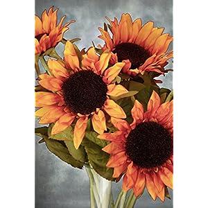 12 Orange Sunflowers 26in - Excellent Home Decor - Indoor & Outdoor 18