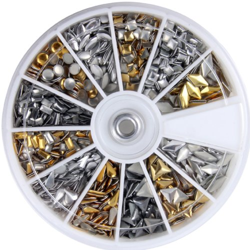 600 pcs 3D Design Nail Art Different Metallic Studs Gold & Silver Stud Wheel Manicure