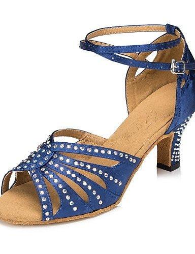 ShangYi Chaussures de danse ( Autre ) - Non Personnalisables - Talon Cubain - Satin / Paillette Brillante -Latine / Jazz / Moderne / Chaussures fuchsia