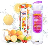 Infuser Water Bottle Sport BPA-Free Tritan 25 Oz - EMPO Fruit Tea Infusion Bottle with FREE Recipe Ebook - Flip Top Large Capacity - Multiple Color Options Ideal Summer Gift - Purple