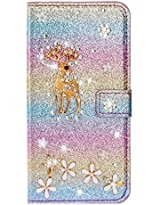 Jorisa Glitter Wallet Case Compatible with Samsung Galaxy S7 Edge,Bling Shiny Diamond Rhinestone Leather Flip Stand Cover with Card Slots Magnetic Closure Case,Christmas Deer Rainbow Purple