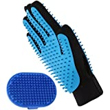Aivituvin Pet Grooming Glove - Bath Brush Compatible Dog & Cat,Horse with Short & Long Hair-Deshedding Gloves-Rubber Massage Tips Hair Remover Mitt with Five Finger Design-Double Side Use