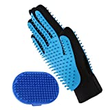 Aivituvin Pet Grooming Glove - Bath Brush Compatible Dog & Cat - Horse with Short & Long Hair-Deshedding Gloves-Rubber Massage Tips Hair Remover Mitt with Five Finger Design-Double Side Use