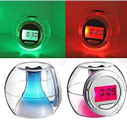 Alarm Clock - 20pcs Lot Electronic Digital Transparent Multifunctional Calendar Alarm Clock With 7 Color Changing - Wake Vision Noise Spy Usb Off Natural Sunrise Plays Purple