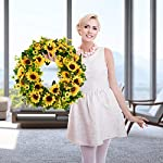 BOMAROLAN-Artificial-Sunflower-Wreath-20-Inch-Summer-Fall-Large-Wreaths-Springtime-All-Year-Around-Flower-Green-Leaves-for-Outdoor-Front-Door-Indoor-Wall-Or-Window-Dcor