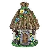Exhart Twigs Roof Fairy House Outdoor Decor - Fairy Cottage Resin Statue with Solar Garden Lights, Miniature Fairy Hut Solar Home Decor for a Magical Fairy Garden, 9'' L x 9'' W x 15'' H