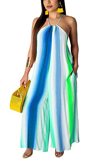 27141a8946 Womens Sexy Jumpsuits with Pockets Plus Size Striped Sleeveless Spaghetti  Strap Wide Leg Long Pants Palazzo Jumpsuit Rompers