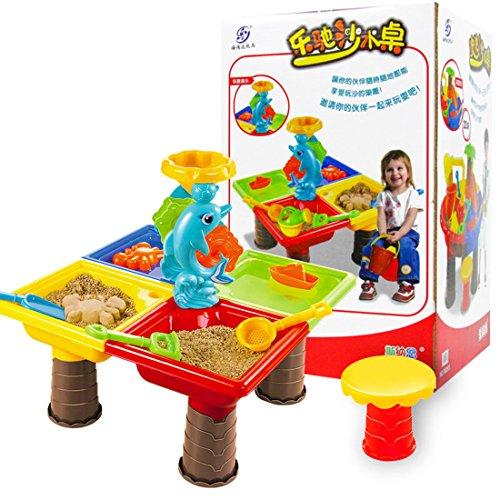 YAHAMA Table à Sable Enfant Table de Jeu Sable et Eau Lot de 23 Pièces Jouets de Sable de Plage pour Enfant