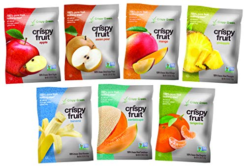 Crispy Green Freeze Dried Fruit Variety Pack of 7 Assorted Fruits, 0.36 Ounce (14 Count)