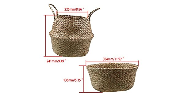 d76774c65fa Amazon.com  Flower Pot - Garden Plant Flower Pot Handmade Storage Basket  Foldable Seagrass Straw Hanging Handle Toy Storage Container  Garden    Outdoor
