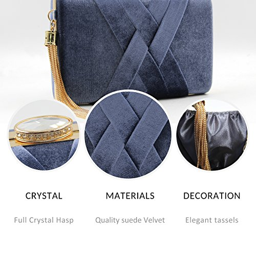 Velvet Purses Bags Metal Evening Crystal Tassels Elegent Women's Mystic Grey with Clutch River E1wHFnqA